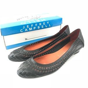 Jeffrey Campbell 9.5 Flats Leather Woven Wedge
